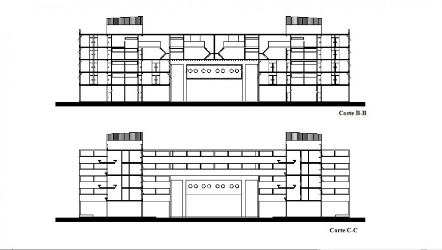 Facade and back section details of apartment building dwg file