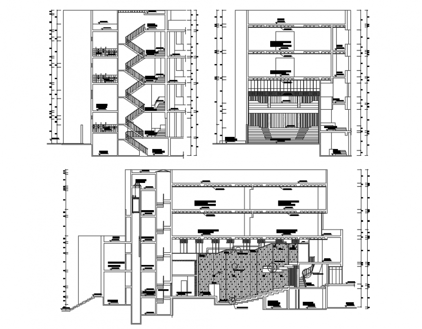 Facade and back sectional details of auditorium hall dwg file