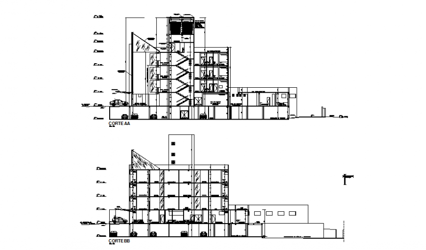 Facade and back sectional details of multi-level hospital dwg file