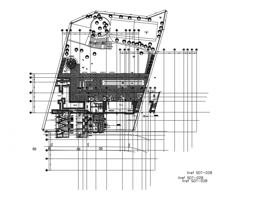 Facade back and stairways sectional details of multi flooring office building dwg file
