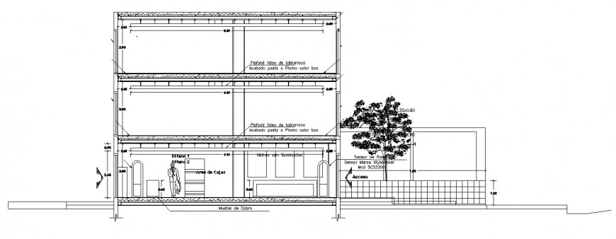 Facade constructive sectional drawing details of hotel restaurant dwg file
