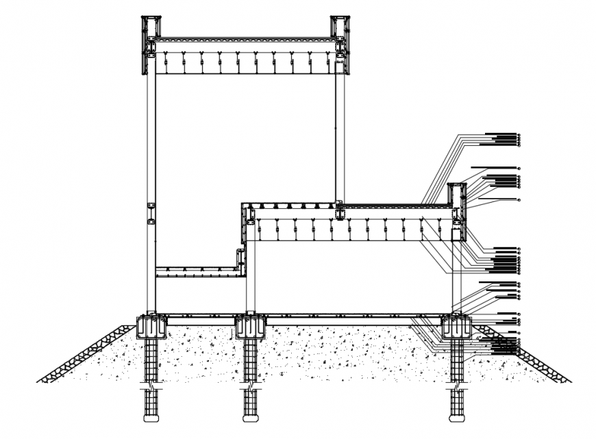Facade cutting sectional constructive details of house building dwg file