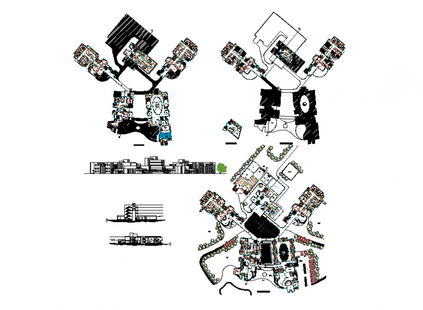 Facade elevation, section and floor plan details of multi-flooring civil hospital dwg file
