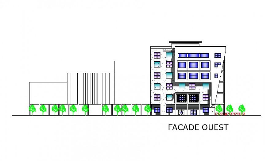 Facade exterior elevation details of multi-flooring hospital building dwg file