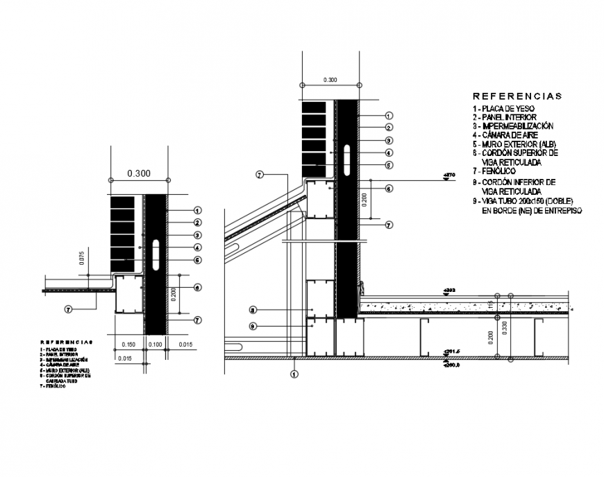 Facade sectional details of house with double walls with references dwg file