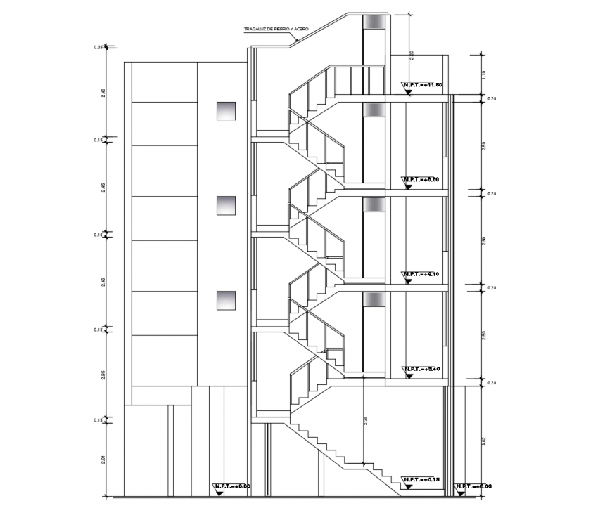 Facade sectional drawing details of multi-story apartment building dwg file