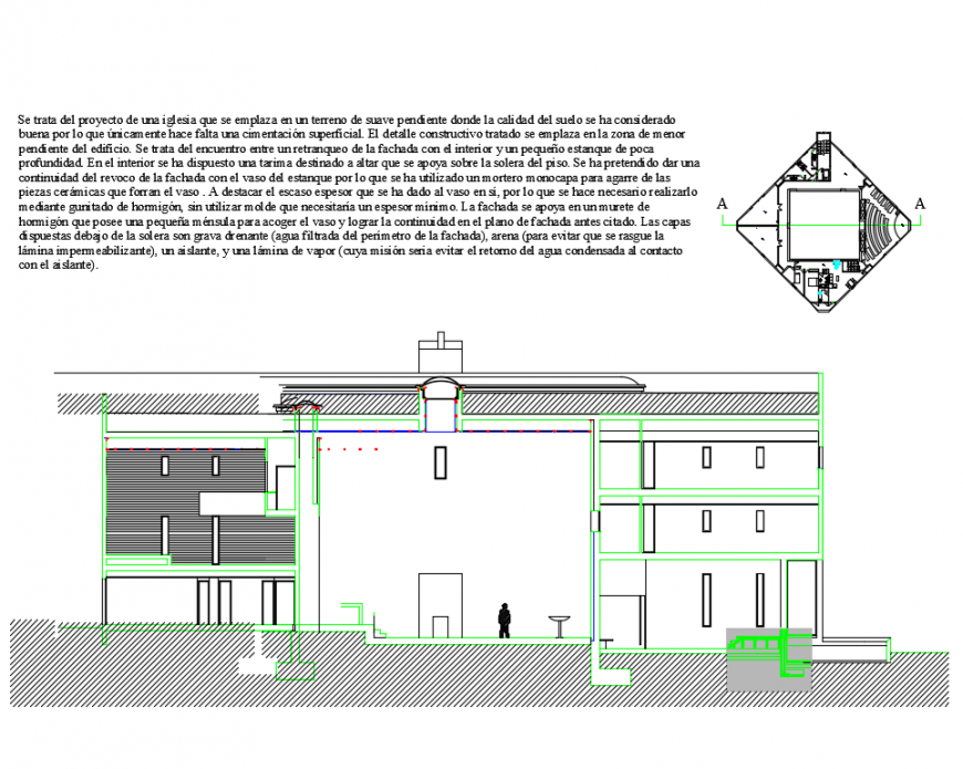 Facade with pond of single family house sectional view dwg file