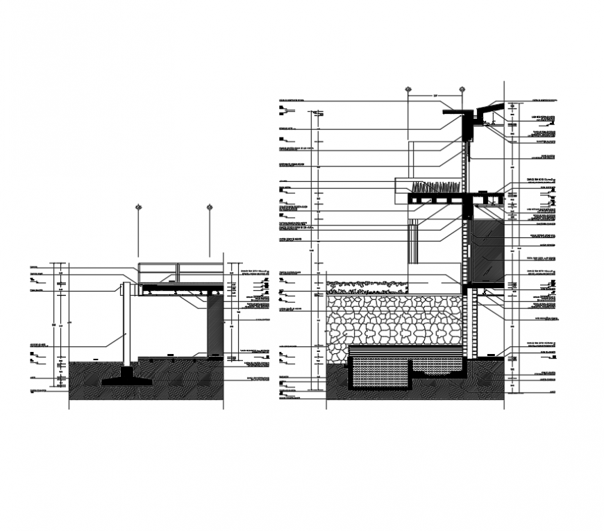 Facades section residential house ribs flags tone over masonry wall dwg file