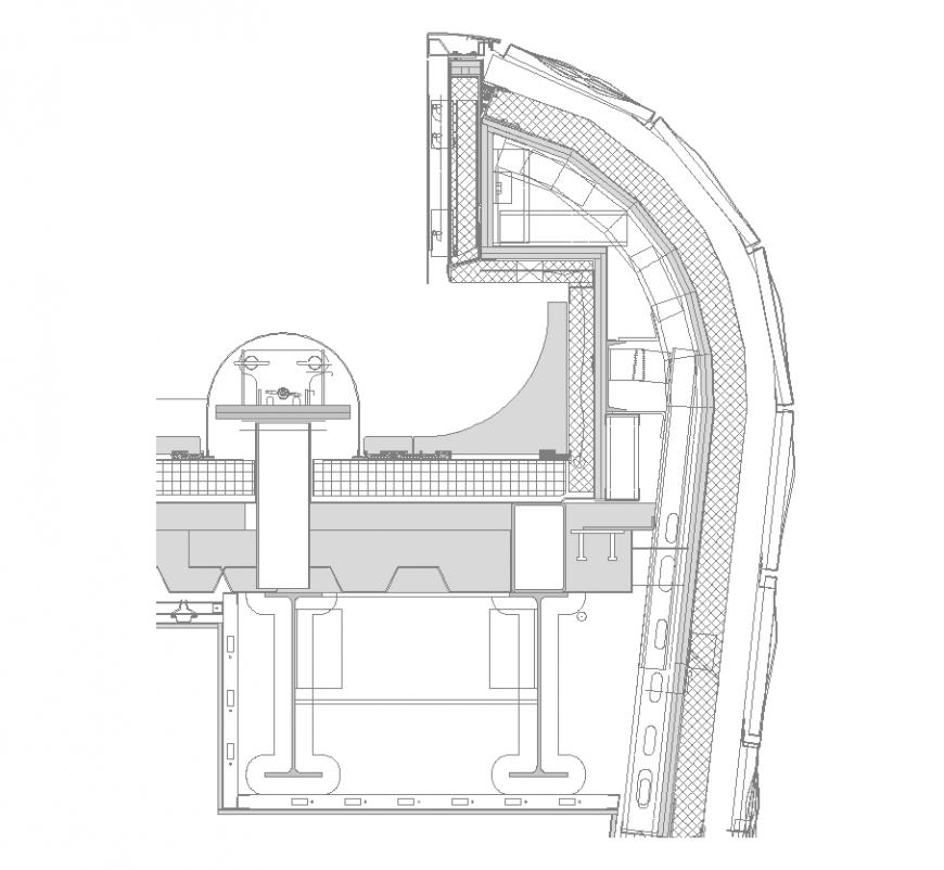 Factory building structure detail 2d view layout plan