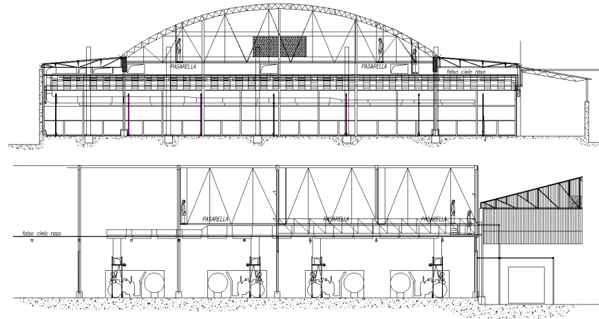 Factory elevation drawing in dwg AutoCAD file.