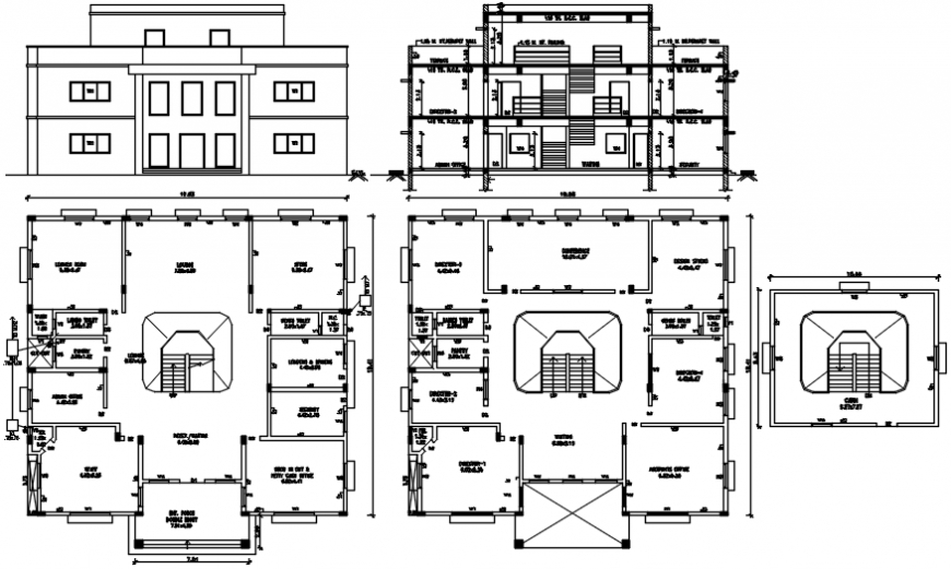 Factory office building elevation, section and floor plan cad drawing details dwg file
