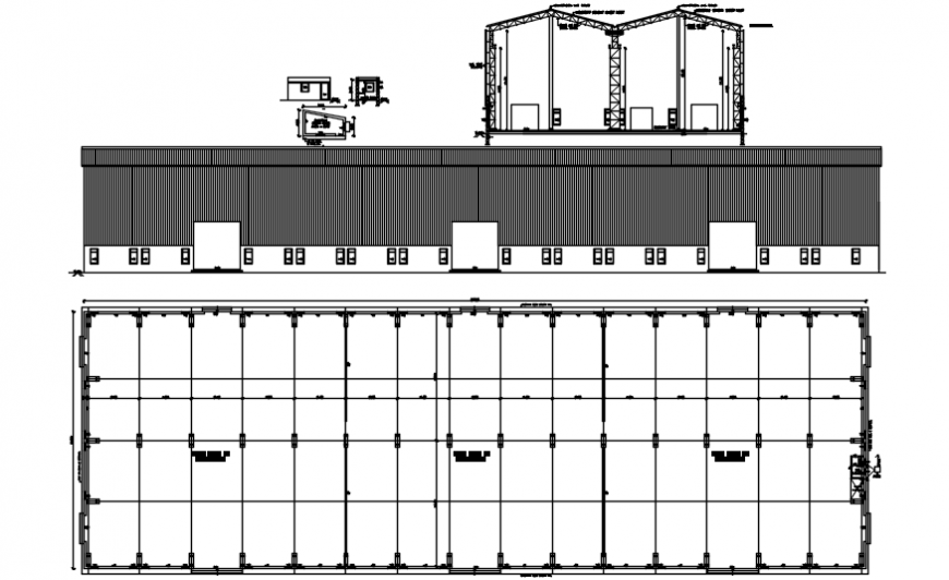 Factory office constructive section and structure cad drawing details dwg file