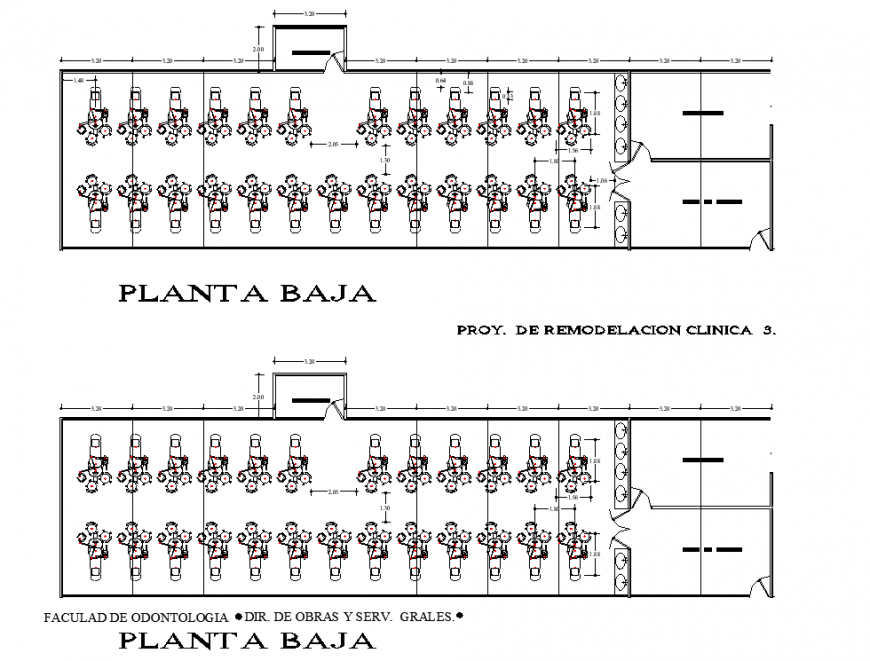 Faculty of dentistry layout plan in dwg AutoCAD file.