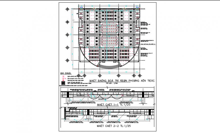 False ceiling design of community center design drawing
