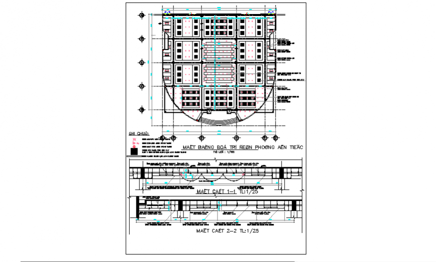 False ceiling Layout plan of community center design drawing