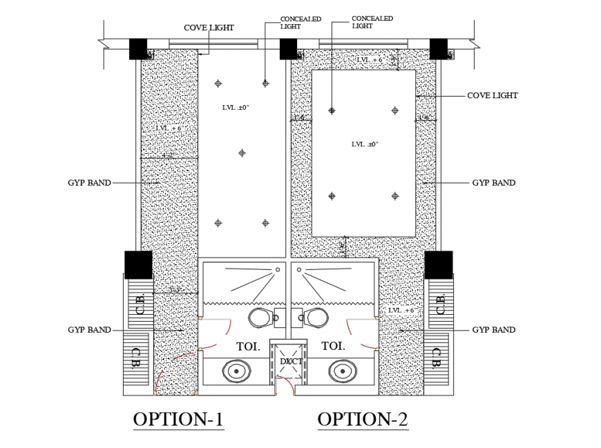 False ceiling of house sectional and electrical layout plan details dwg file