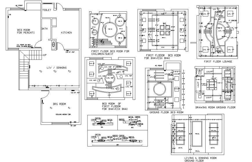 False ceiling plan detail dwg file.