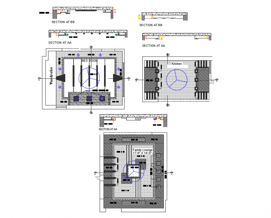 False ceiling structure and section details of house building dwg file