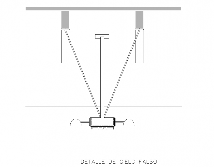 False sky detail section plan autocad file