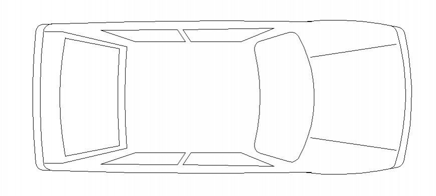 Family car roof view elevation block cad drawing details dwg file
