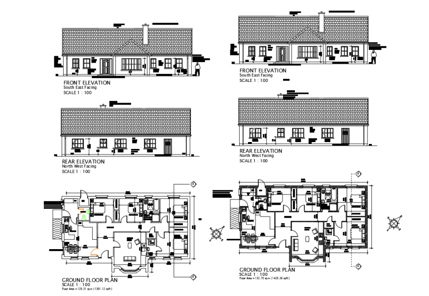 Family house all sided elevation and ground floor plan details dwg file