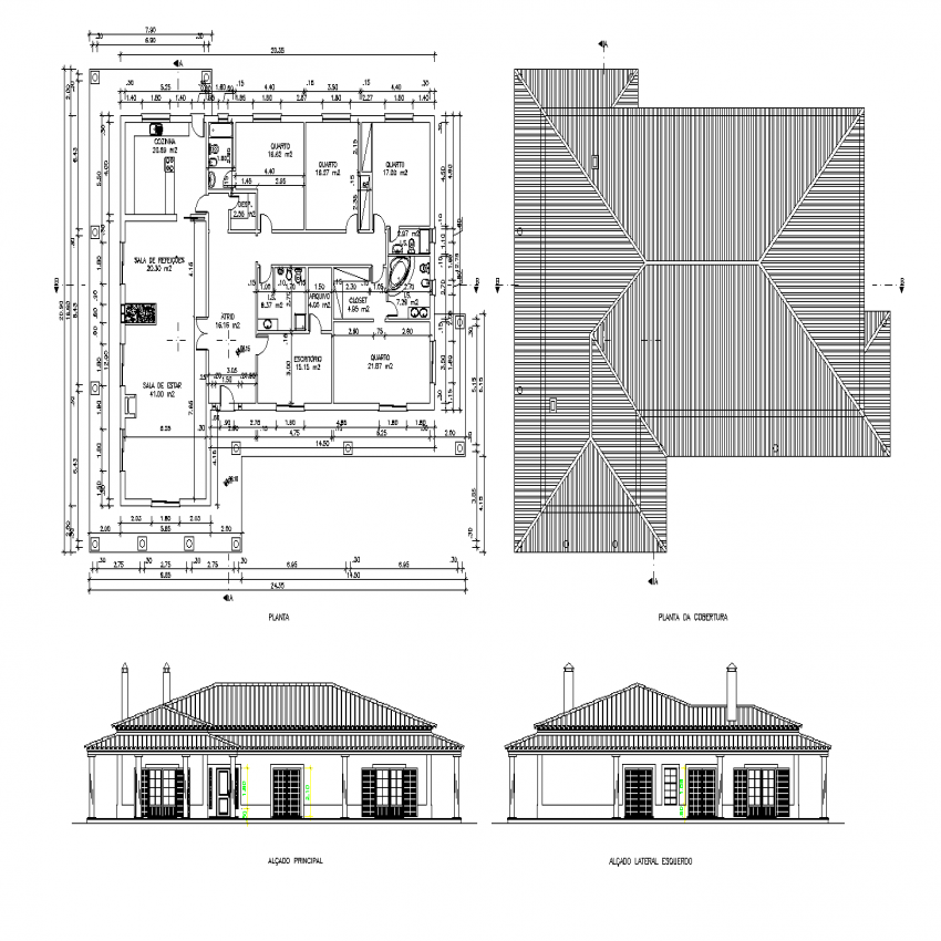 Family house plan and elevation dwg file