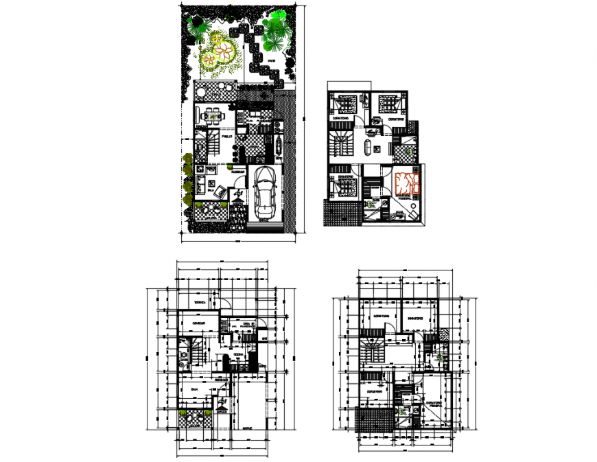 Family house two story floor plan layout cad drawing details dwg file