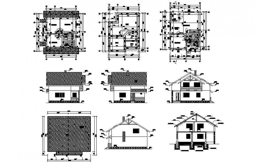 Family house working drawing in dwg file.