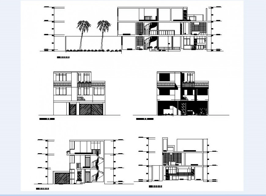 Family housing area different elevation and section view of building in auto cad
