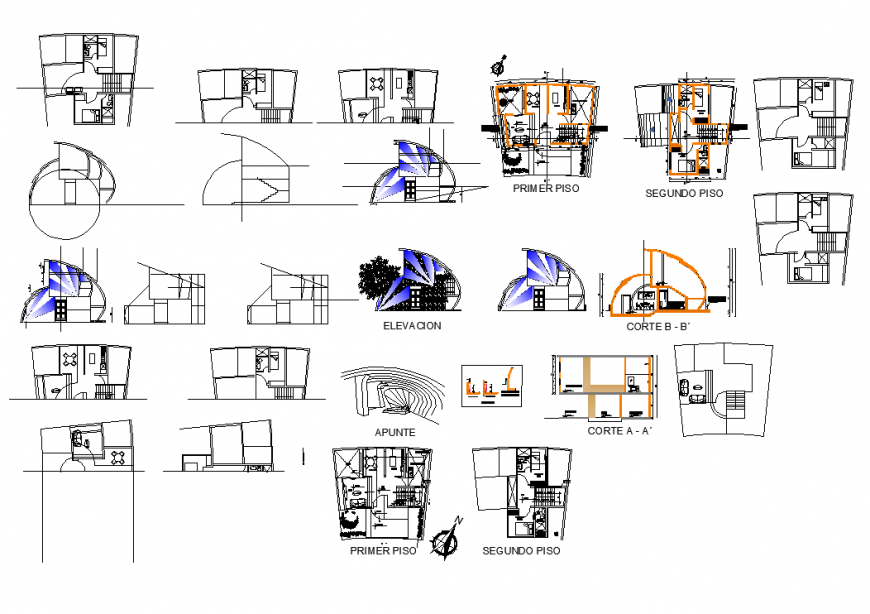 Family housing building structure detail plan, elevation and section layout autocad file
