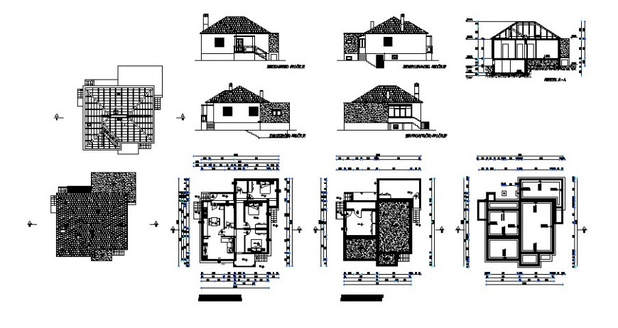 Family Housing details elevation plan and section dwg file
