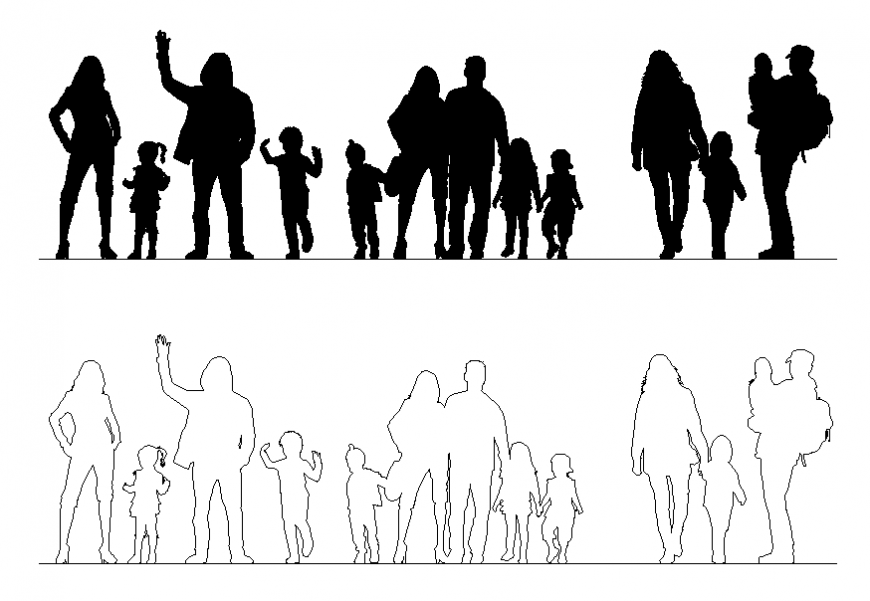 Family people blocks cad drawing details dwg file