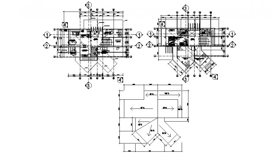 Family residence plan with ceiling plan in AutoCAD file