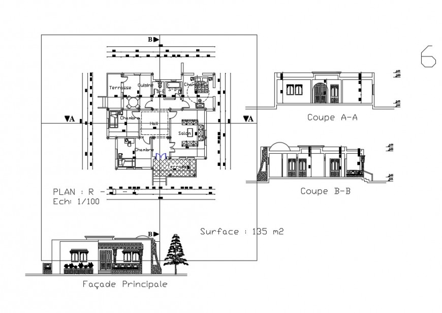 Family salon all sided elevation and plan details dwg file