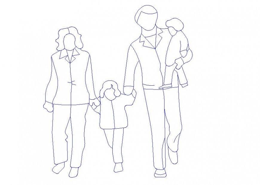 Family with two children elevation block cad drawing details dwg file
