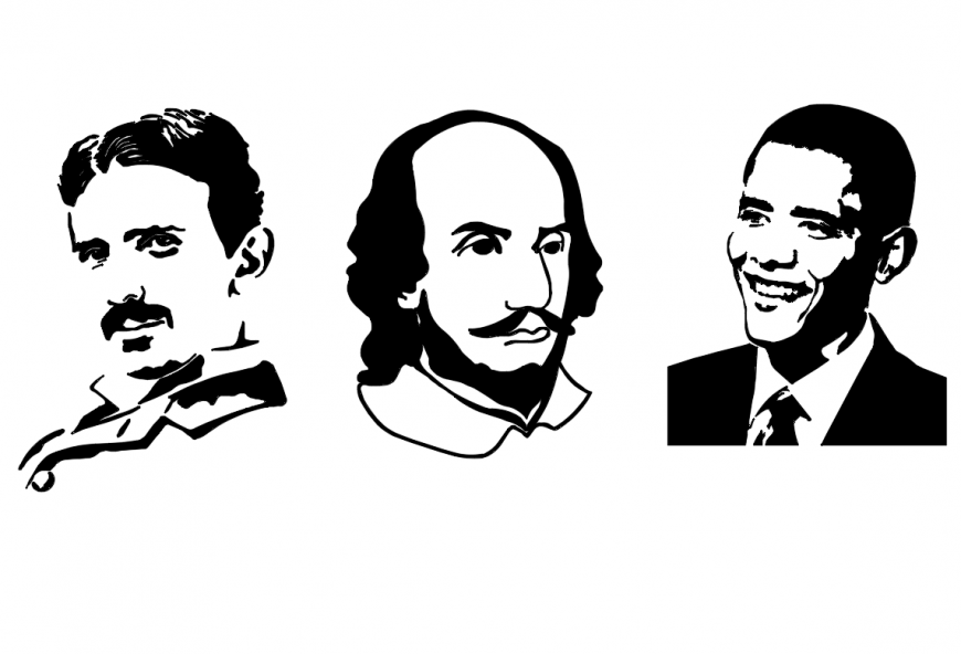 Famous people silhouettes and outlines cad drawing details dwg file