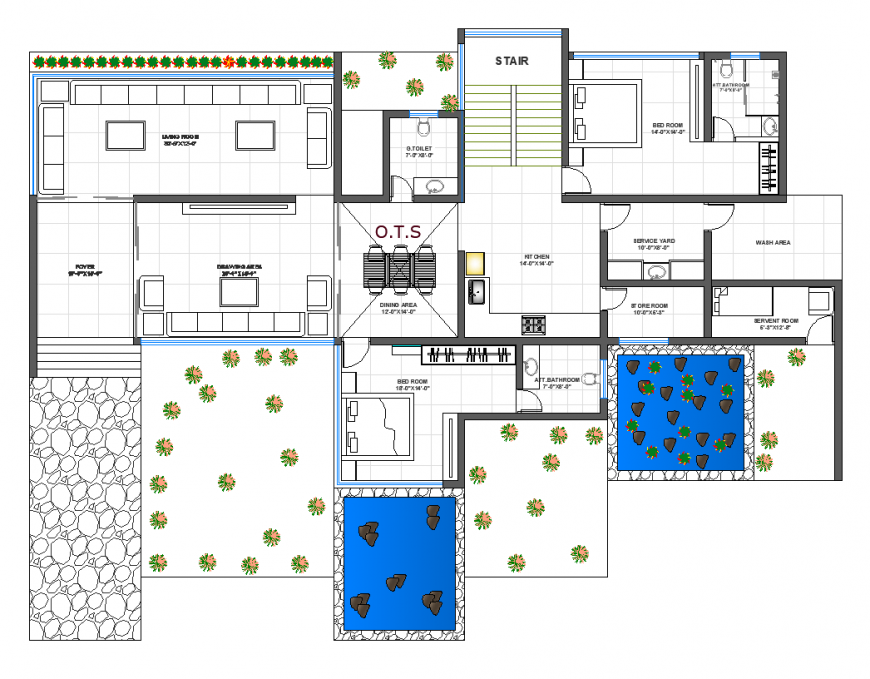 Farm house design with plan with architectural detail dwg file