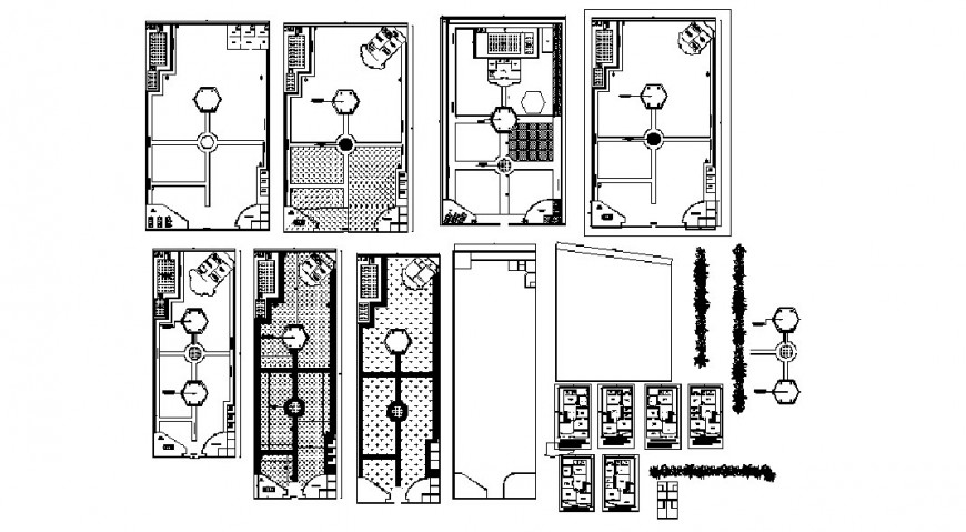 Farm house floor distribution plan and landscaping details dwg file
