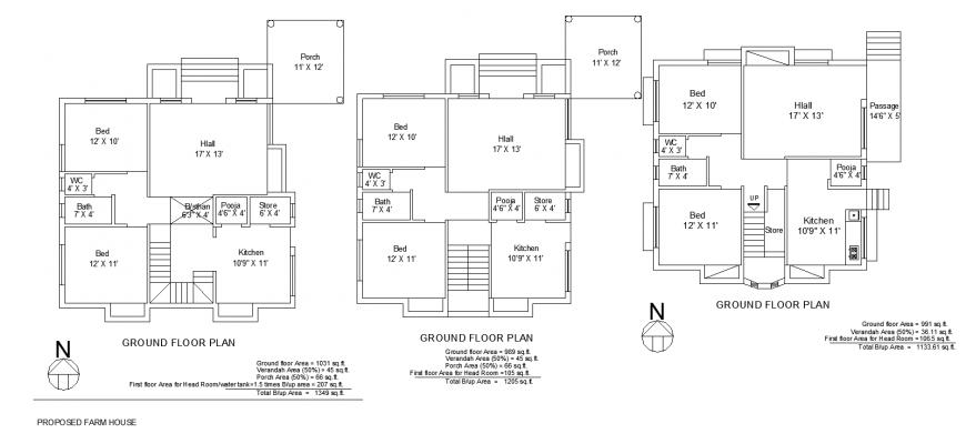 Farm house proposed layout plan drawing in dwg file.