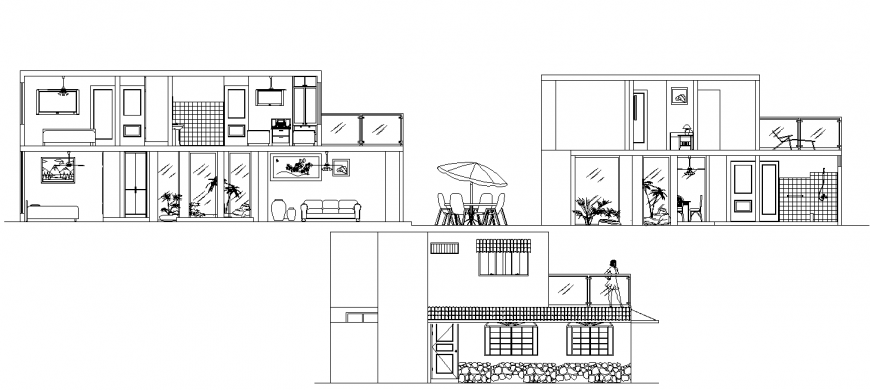 Farm house section and elevation drawing in dwg file.