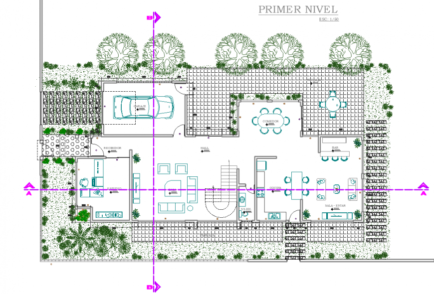 Farm house site layout drawing in dwg file.