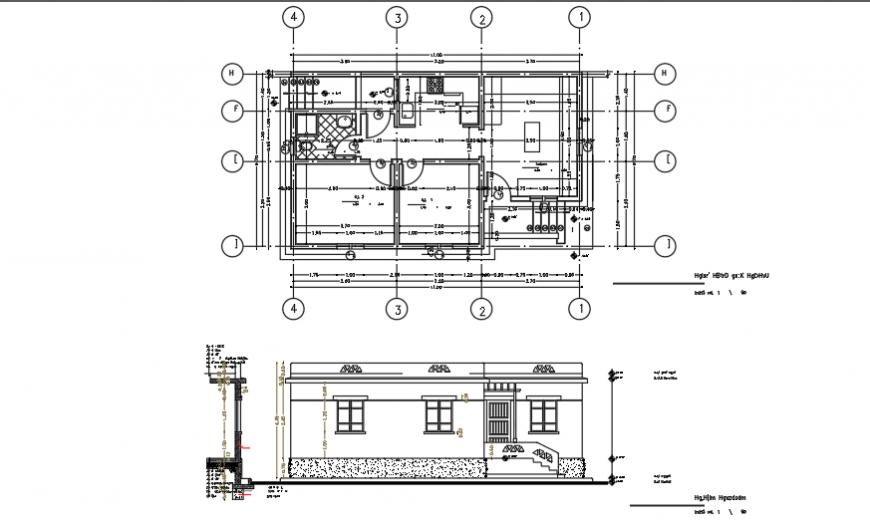 Farmer house plan & section design of small villa design drawing