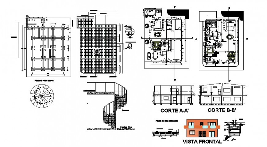 Farmhouse detail plan working drawing in dwg file.