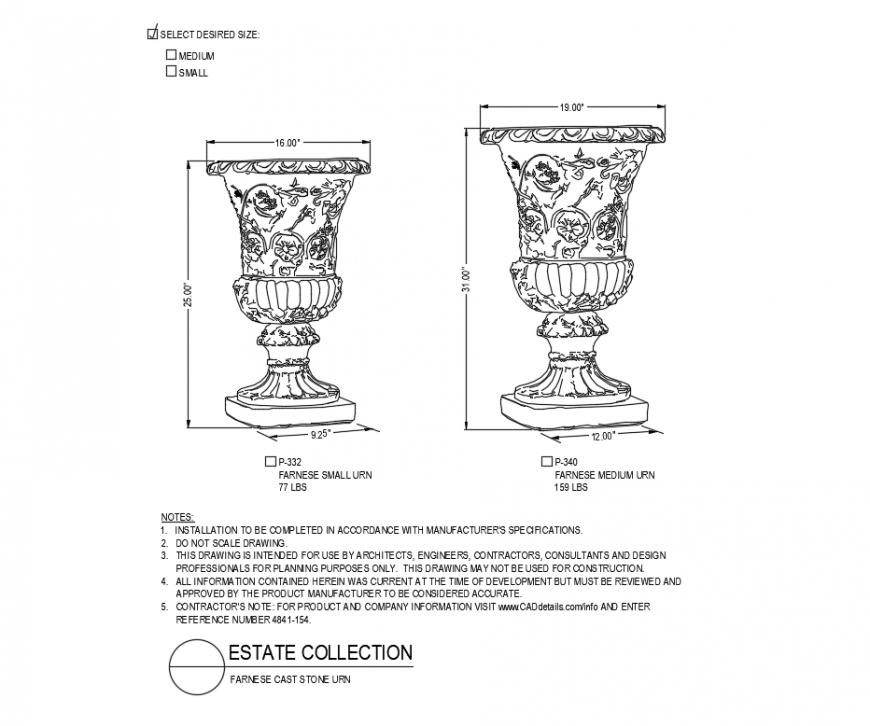 Farnese urn medium and small planter cad block design dwg file