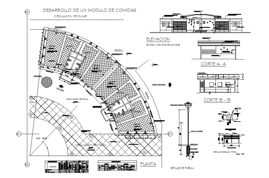 Fast-food stall restaurant elevation, section and general layout plan details dwg file