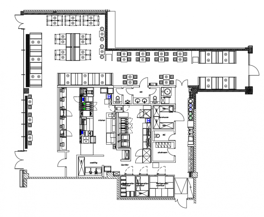 Fast food restaurant top view layout plan cad drawing details dwg file