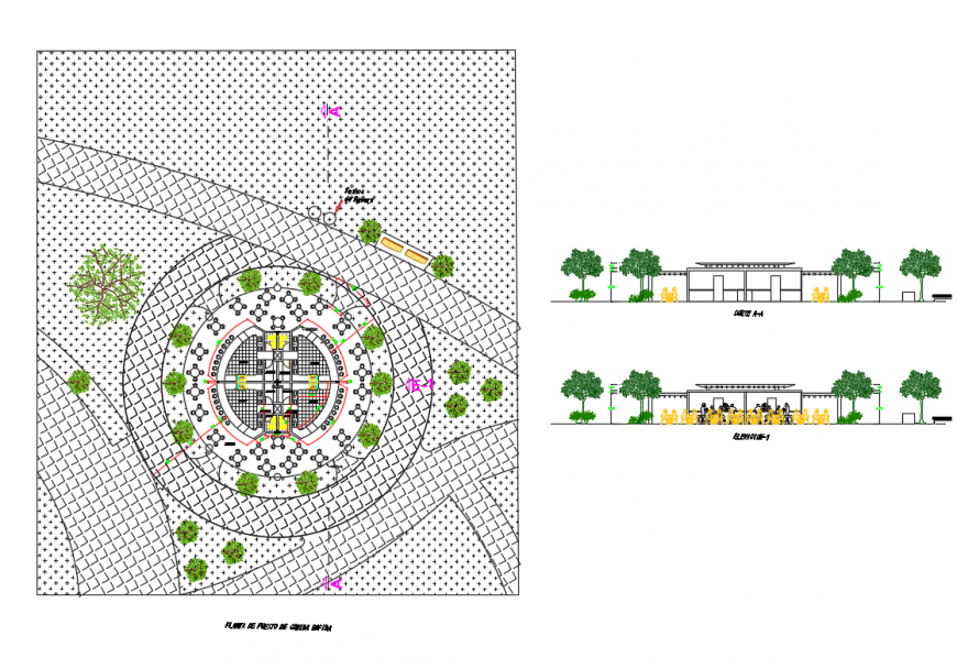 Fast food stand plant of college elevation and section details with landscaping structure dwg file