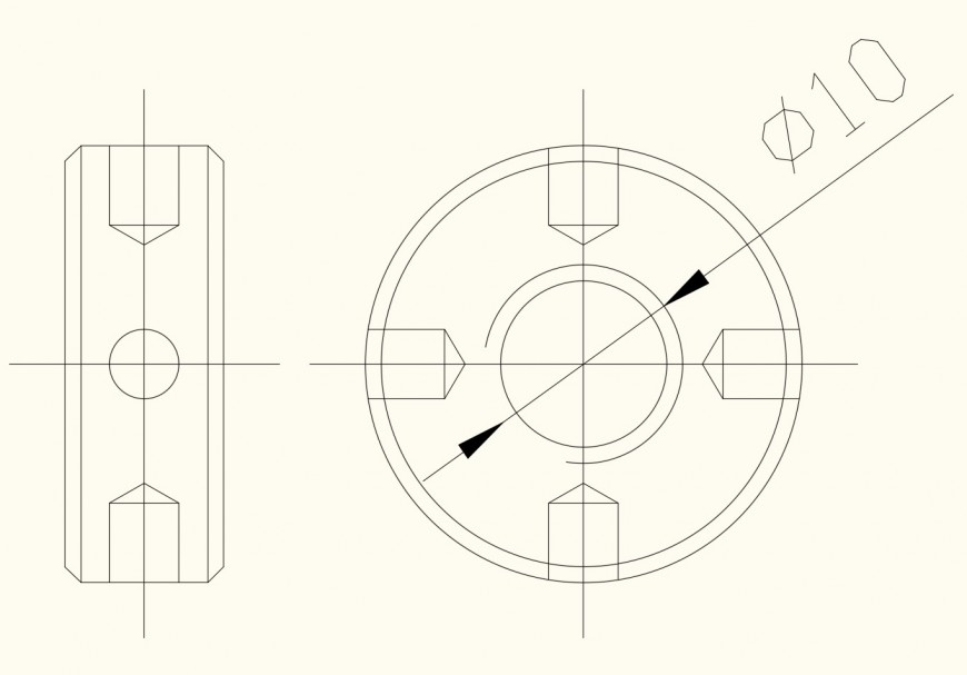 Fastners nut detail 2d view elevation autocad file