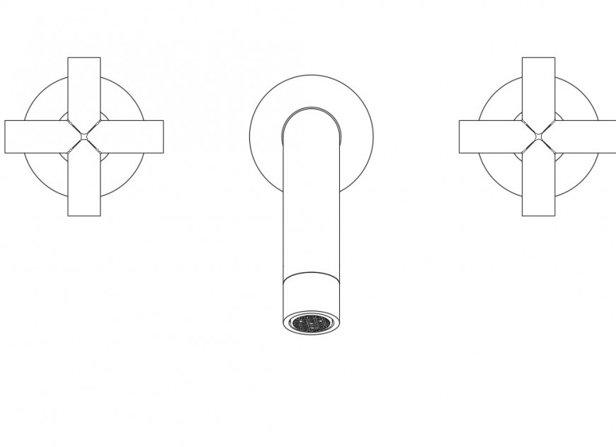 Faucet plan and elevation autocad file
