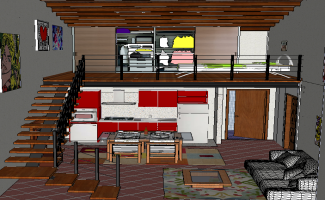 3d Interior Design of single House